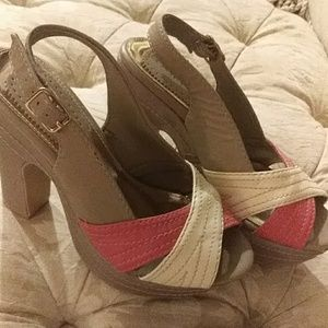 Pink  tan and Ivory Rampage heels